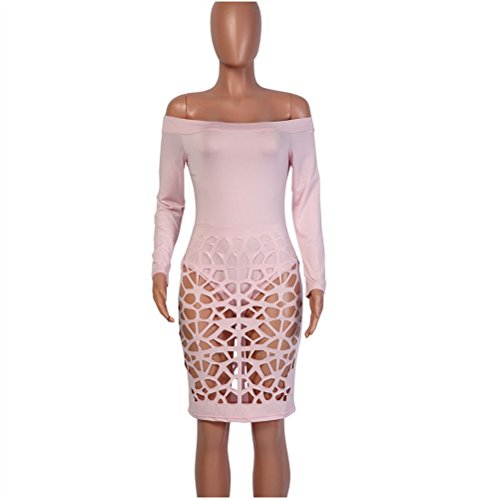 Femmes Sexy Strapless manches longues Cut Out Holes Clubwear Package Hip-Midi Robe Rosa