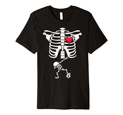 Schwangere Soccer Skelett Kostüm Halloween Shirt