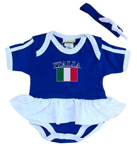 PAM mm Italia bebé niña fútbol Ruffle Body - Azul -