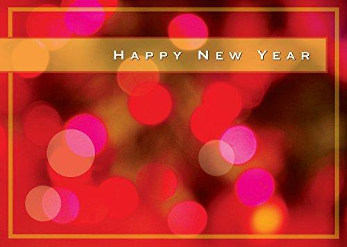New Year Grußkarten-n8004. Business Grußkarte mit Happy New Year auf Bright Lights Hintergrund. Box Set Hat 25Grußkarten und 26weiß mit Gold Folie gefüttert Umschläge.