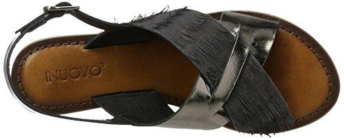 Inuovo 7261, Scarpe Col Tacco con Cinturino a T Donna Schwarz (PEWTER-BLACK)