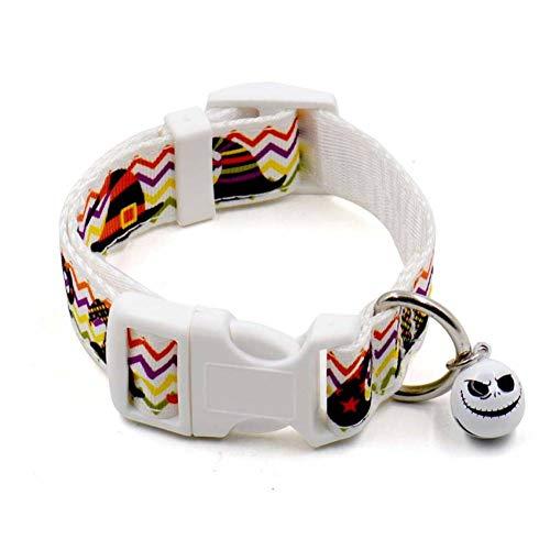 ZLJGG Collares De Perro Mascota De Halloween Collar De Collar De Perro De Calabaza De Nylon Murciélago Ajustable con Campana Productos para Mascotas,Re