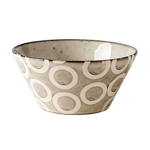 RKY Bol- Bol à ustensiles à couverts en céramique japonaise rétro créative bol à salade bol à fruits bol - 4 styles, 2 tailles /-/ (Couleur : Cercle, taille : 11.5 * 6.5 * 6.5cm)