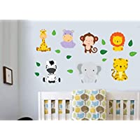 Childrens Jungle Animals with Leaves - Pack of 18 - Wall Art Vinyl Printed Stickers
