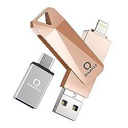 QARFEE USB Stick 32GB für iPhone USB-Stick Speicherstick iOS Flash Drive USB 3.0 mit Type C für OTG Android Handy iPad MacBook PC Externe Erweiterung