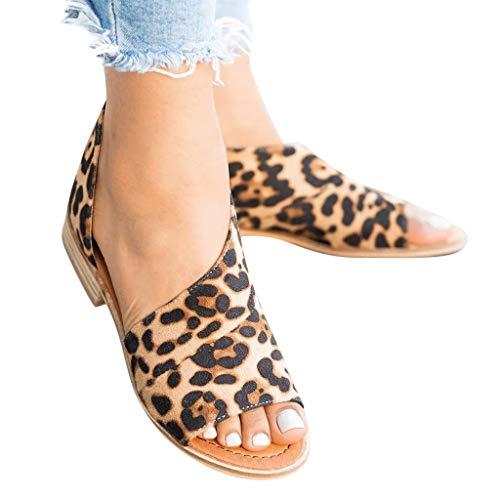 2019 Sandalias De Vestir Para Mujer, Zapatos De Tacón Cuadrado Bajo De Leopardo Sexy Zapatillas Sin...