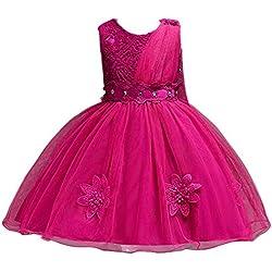 Xmiral Niñas-Bebés Vestido Princesa de Enacje Traje de Ceremonia Dress Tul Elegante de Boda Bautizo Tutu Cinturón de Lazo (Magenta,6-7 años)