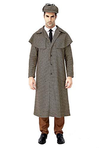 Sherlock Holmes Kostüm für Erwachsene,Detektiv Kostüm Herren Detektivkostüm Dedektivkostüm Mantel + Detektiv-Mütze - Sherlock Holmes Hut Kostüm