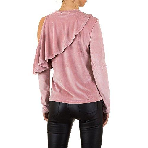 Cold Shoulder Samt Sweatshirt Für Damen bei Ital-Design Rosa