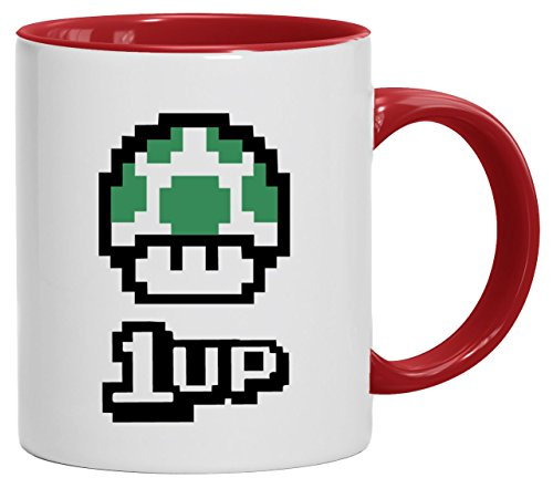 Geek Nerd Gamer Pixel Kaffeetasse Becher Tasse 2-farbig Retro Gamer 1 Up Pilz, Größe: onesize,weiß/rot