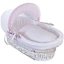 Clair de Lune – moisés con cesta de mimbre, estrellas y rayas, color blanco, con ropa de cama, colchón y capucha ajustable (rosa)