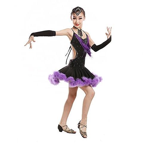 Saloon Fille Costume Violet - Danses latines enfants jupes filles latine été