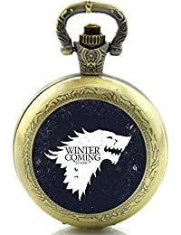 'Pocket Watch/Necklace Watch–Winter Is Coming Game Of Thrones–Antique, Bronze Engraved Quartz Movement