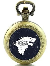 Juego de Tronos Winter Is Coming Reloj de Bolsillo de Cuarzo, diseño de Bronce Antiguo