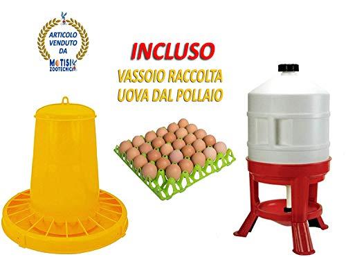 Motisi Zootecnici Mangiatoia tramoggia in plastica per polli, Galline, Pulcini da kg.15 e abbeveratoio Serbatoio sifone lt.30 novital
