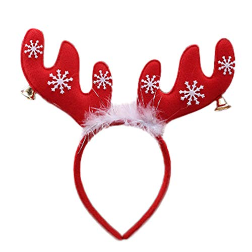 Carol Kostüm Xmas - Weihnachten Hirsch Bell Stirnband Damen Stirnbänder Frauen Feder Haarband Xmas Karneval Party Prom Turban Kostüm Cosplay Kostüm Haarschmuck Bandana Fotografie Deko