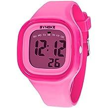 Malloom® 2015 moda natación reloj deportivo silicona digital LED impermeable unisexo reloj Rosa