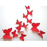 ufengke® 12 Pezzi 3D Farfalle Adesivi Murali Fashion Design DIY Farfalla Arte Adesivi da Parete Artigianato Decorazione Domestica, Rosso