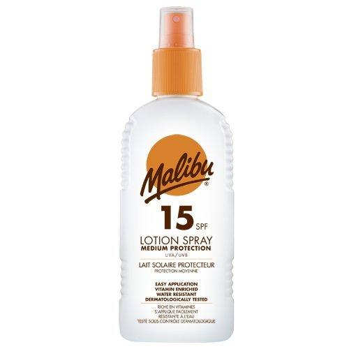 Malibu Protezione Alta Sun Lotion SPF15 Spray con Vitamina E e Pro Vitamina B5 200 ml