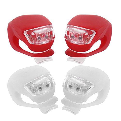 LED Fahrradlampen für Sicherheit aus Silikon (2*Rot+2*Weiss)