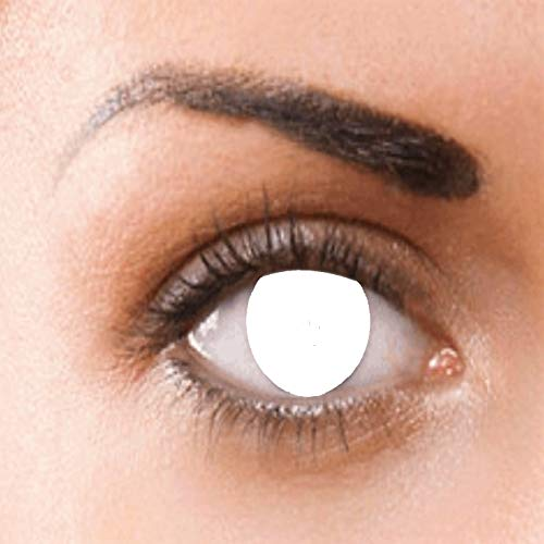 Phantasy Eyes® Lentes de contacto de color - Halloween Crazy lens (BLIND WHITE) ropa de fiesta anual, sin dioptrías: cómodos de usar e ideales para Halloween o Carnaval. + funda de lentes gratis!