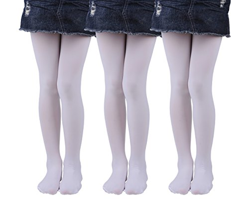 EVERSWE Girls Tights, Semi Opaque Footed Tights, Microfiber Dance Tights, 1 or 3 Pairs Pack (2-4, White 3pairs) -