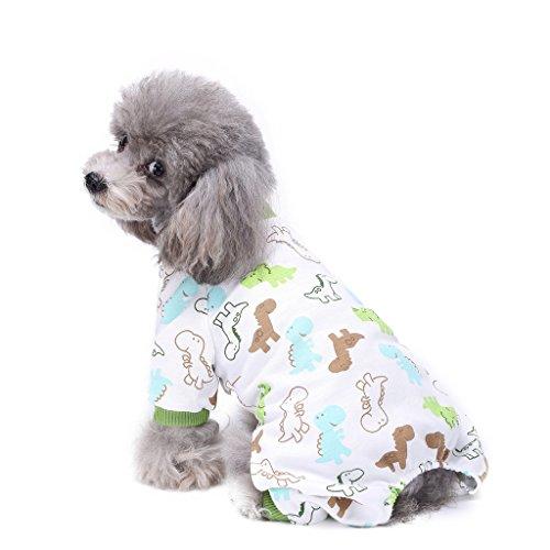 s-lifeeling Hund Kostüme Outfit Dinosaurier Muster Komfortable Puppy Schlafanzug Weiche Hund Jumpsuit Shirt Best Geschenk 100% Baumwolle Mantel für kleine und mittlere (Kostüm Ideen Hund Halloween Lustige)