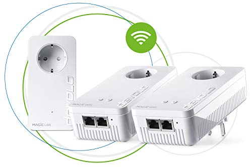 Devolo Magic 2 Wifi: Fantastisches Powerline-Multiroom Kit mit WLAN-Funktion, bis 2400 Mbit/s Wifi AC, 2x Gigabit LAN-Anschluss pro Adapter, integrierte Steckdose, Mesh WiFi, Access Point, weiß