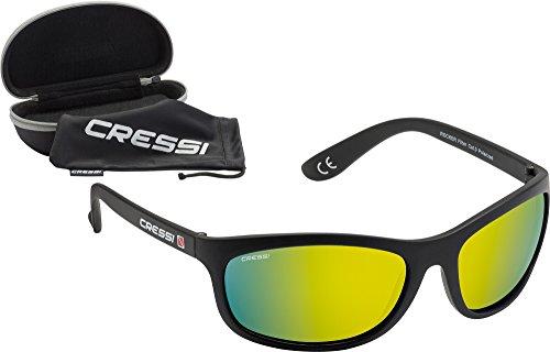 Cressi Rocker Gafas de Sol, Unisex Adulto, Negro/Lentes Reflejado Amarillo, Ultra Flex-Talla Única