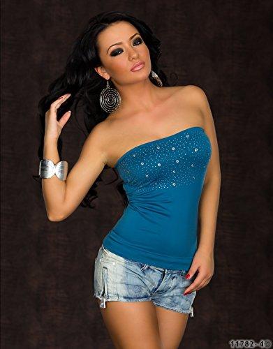 Fashion4Young 4214 débardeur pour femme en tissu stretch avec rivets disponibles en 7 couleurs différentes tailles Vert - Pétrole