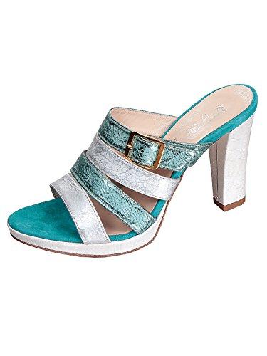 Marion Spath , chaussures compensées femme Turquoise - Türkis/Weiß
