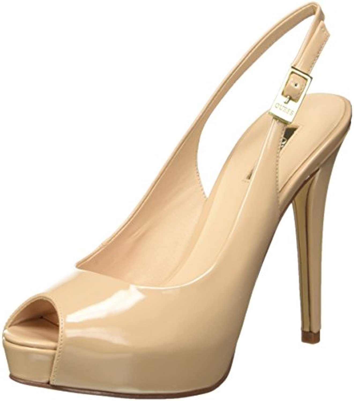 Guess Damen Patent Pu Schuhe mit Keilabsatz Vernice Brown