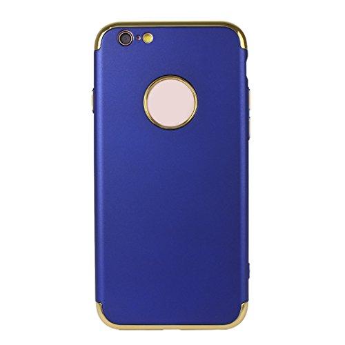 iPhone 6S Plus Hartschale, iPhone 6 Plus Hartschale, iPhone 6S Plus Full Body Case, iPhone 6 Plus 3 in 1 Hülle, Moon mood® 3 in 1 Anti-Fingerprint Kratzfeste Kunststoff Harte Rückseite Case Bumper Sch Blau
