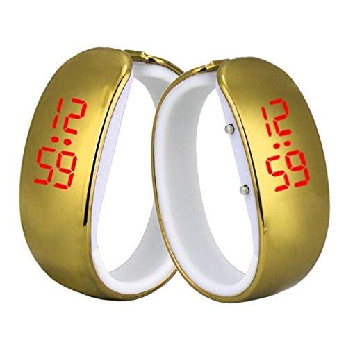 Sannysis Pulsera impermeable Reloj deportivo LED reloj de mujer (Oro)