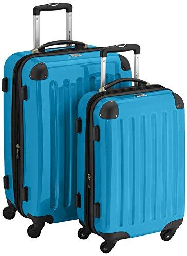 HAUPTSTADTKOFFER® 2er Hartschalen Kofferset · Handgepäck 45 Liter (55 x 35 x 20 cm) + Koffer 87 Liter (63 x 42 x 28 cm) · Hochglanz · TSA Zahlenschloss · GELB Cyan Blau