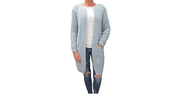 12e1ee8a8786bd Italy Damen Grobstrick Strickjacke Cardigan Mantel Patentmuster Zopfmuster  Weitere Farben hellblau: Amazon.de: Bekleidung