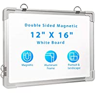 """Small Dry Erase White Board 12"""" X 16"""", Portable Magnetic Double Sided to Do Whiteboard for School Home Office"""