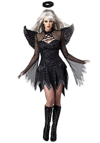 Fortuning's JDS® Frauen Cosplay Black Angel-Kleid-Flügel-Haar-Band-Halloween-Party-Kostüm(3Pcs)