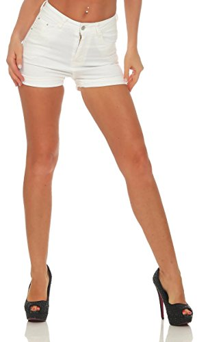 OSAB-Fashion 10109 Damen Hotpants Short Kurze Hose Hot-Pants Stretch-Stoff High-Waist
