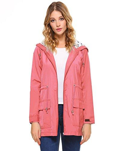 acke wasserdichte Leichte Kapuzen Regenmantel mit Kapuze Tasche Outwear (X-Large, Rosa) ()