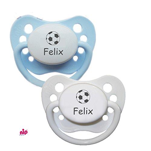 Schnuller mit Namen Fußball (Junge Blau / Weiß) - 2 Namensschnuller in Größe 1 (0-6 Monate)