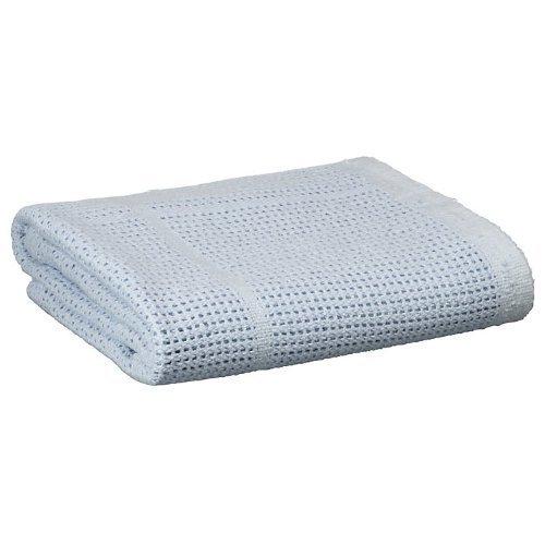 Baby Cellular Cotton Blanket for Moses Basket, Crib, Pram - Blue