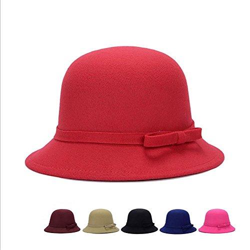 MAOXZI Woolen Cloche Hut Fedora Bowler Cap, -