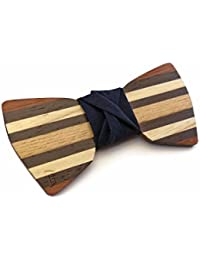 GIGETTO Papillon in legno fatto a mano con nodo in tessuto blu notte. Farfallino artigianale. Cinturino regolabile in stoffa. Limited Edition DANDY