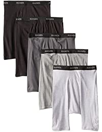 Hanes Men's 5 Pack Ultimate Black And Grey Long Leg Boxer Briefs