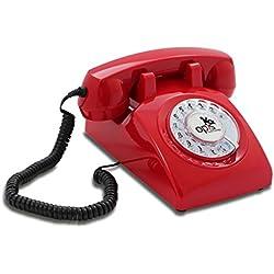OPIS 60s CABLE: Teléfono estilo retro / diseño vintage de los años sesenta con disco de marcar (rojo)