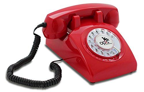 OPIS 60s CABLE: Teléfono estilo retro/diseño vintage de los años sesenta con disco de marcar (rojo)
