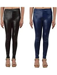 Timbre PU Coated Leggings Pack of 2 Party wear Leggings Black & Blue