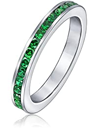 Bling Jewelry Sterling Silver Emerald Color May Birthstone Eternity Ring