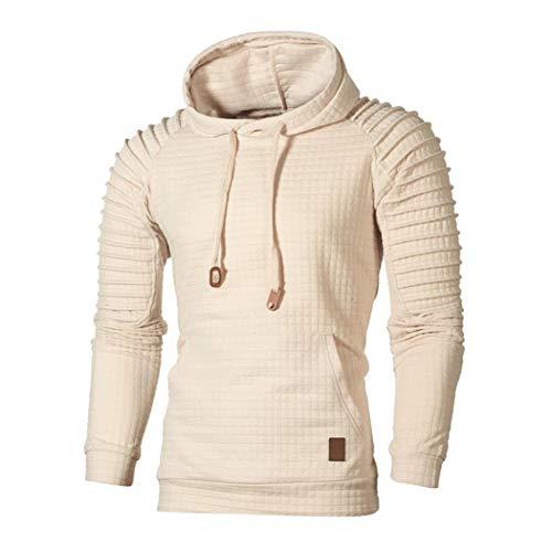 ZIYOU Herren Herbst Sweatshirt Langarm Pullover mit Kapuzen, Männer Kariert Hoodie Outwear Hemd Sport T shirts Top Tee (XL,Khaki)